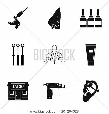 Tattoo salon specialist icon set. Simple set of 9 tattoo salon specialist vector icons for web isolated on white background