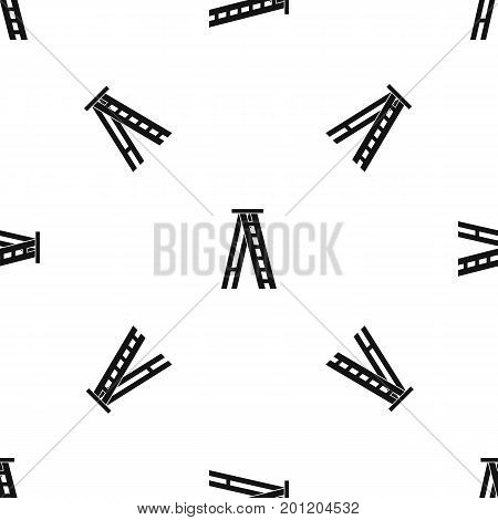 Stepladder pattern repeat seamless in black color for any design. Vector geometric illustration