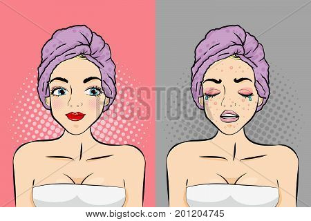 pop of cartoon woman with skincare concept