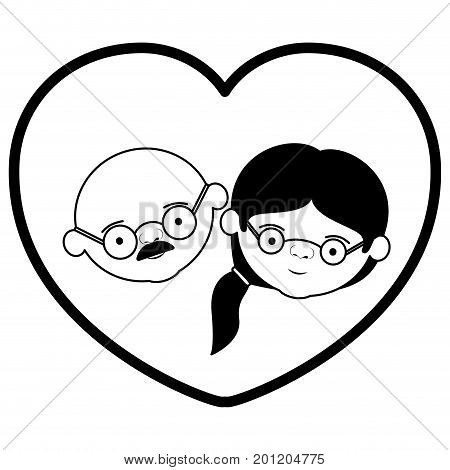 black thick contour of heart shape greeting card with caricature face of bald grandfather with glasses and grandmother with ponytail side hair vector illustration