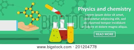 Physics and chemistry banner horizontal concept. Flat illustration of physics and chemistry banner horizontal vector concept for web