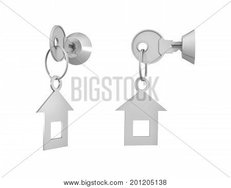 3d rendering of 2 keys with attached labels inside their locks on white background. Lock and key. Security management. Information safety.