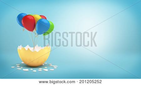 3d rendering of a large golden eggshell cracked to reveal a bundle of colorful balloons on a ribbon. Celebratory dates. Sales and promotions. Marketing event.