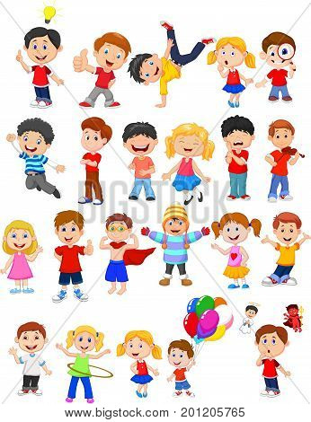 Vector illustration of Kids engaged in different expression