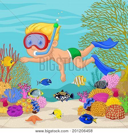 Vector illustration of Little boy snorkeling on sea