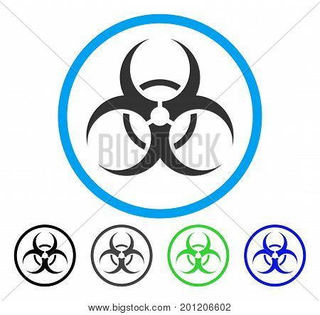 Bio Hazard rounded icon. Vector illustration style is a flat iconic symbol inside a circle, black, grey, blue, green versions. Designed for web and software interfaces.