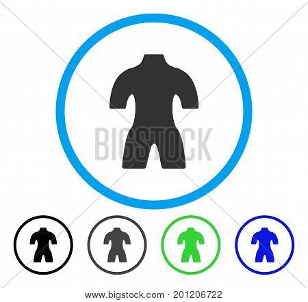 Body rounded icon. Vector illustration style is a flat iconic symbol inside a circle, black, grey, blue, green versions. Designed for web and software interfaces.