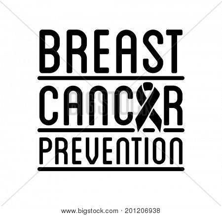 Breast Cancer Awareness logo.  ribbon and  prevention sign for banner  social poster
