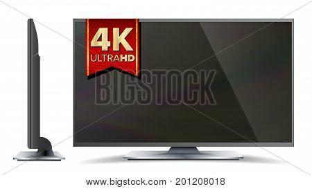 4k TV Vector Screen. UHD Sign. TV Ultra HD Resolution Format. Isolated Illustration
