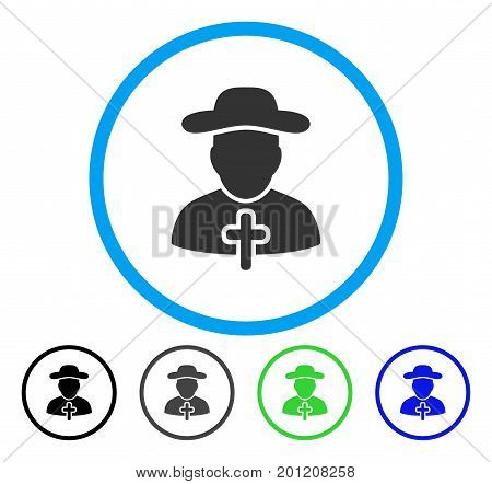 Cleric rounded icon. Vector illustration style is a flat iconic symbol inside a circle, black, grey, blue, green versions. Designed for web and software interfaces.