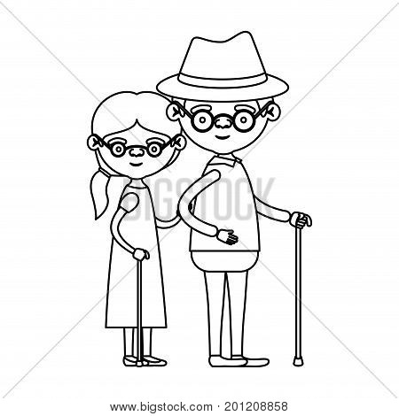 sketch silhouette full body couple elderly in walking stick of grandmother with ponytail side hair in dress and grandfather with hat and glasses vector illustration