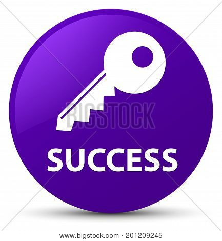 Success (key Icon) Purple Round Button