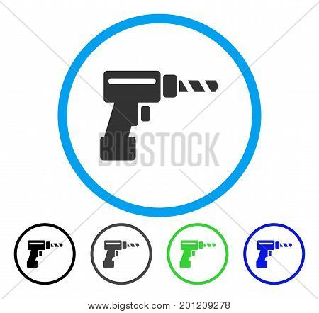 Drill rounded icon. Vector illustration style is a flat iconic symbol inside a circle, black, gray, blue, green versions. Designed for web and software interfaces.