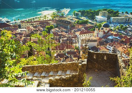 Top View Of The Bay Of Kotor And The Old Town. Europe. Montenegro