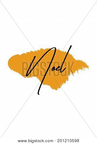 Hand drawn holiday lettering. Ink illustration. Modern brush calligraphy. Isolated on white background. Noel text.