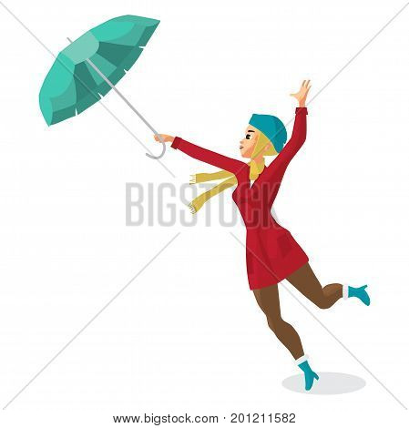 Young woman holding her umbrella in the wind. Girl in the fall during bad weather. Flat cartoon vector illustration