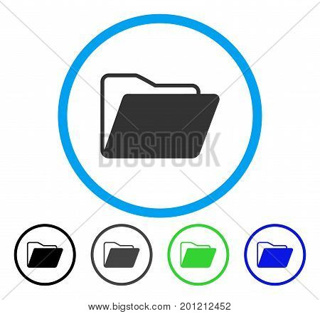 Open Folder rounded icon. Vector illustration style is a flat iconic symbol inside a circle, black, gray, blue, green versions. Designed for web and software interfaces.