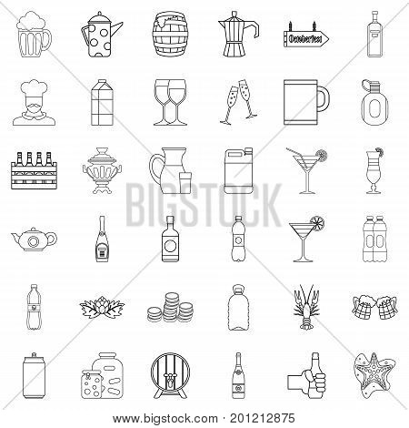 Crate icons set. Outline style of 36 crate vector icons for web isolated on white background