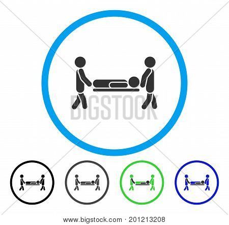 Patient Stretcher rounded icon. Vector illustration style is a flat iconic symbol inside a circle, black, grey, blue, green versions. Designed for web and software interfaces.