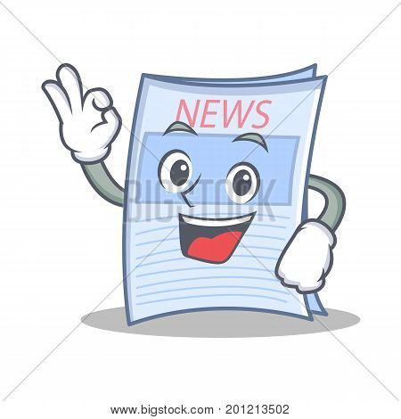 Okay newspaper character cartoon style vector illustration