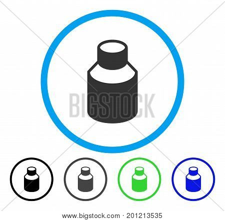 Phial rounded icon. Vector illustration style is a flat iconic symbol inside a circle, black, gray, blue, green versions. Designed for web and software interfaces.