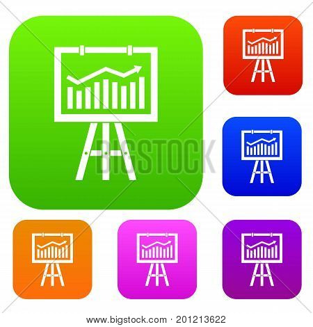 Flipchart with marketing data set icon in different colors isolated vector illustration. Premium collection