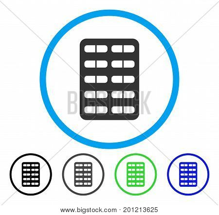 Pill Blister rounded icon. Vector illustration style is a flat iconic symbol inside a circle, black, gray, blue, green versions. Designed for web and software interfaces.
