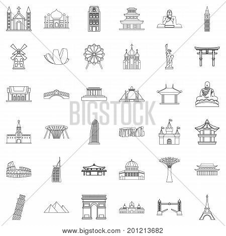 Showplace icons set. Outline style of 36 showplace vector icons for web isolated on white background