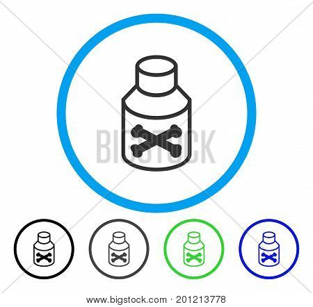 Poison Bottle rounded icon. Vector illustration style is a flat iconic symbol inside a circle, black, grey, blue, green versions. Designed for web and software interfaces.