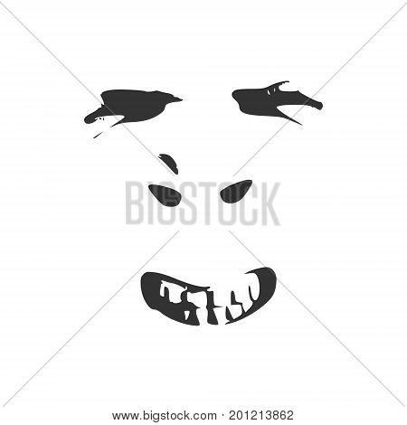 Man has a grin as if he was reacting to something he saw. Human emotions expression vector illustration. Isolated avatar of the emotional face.