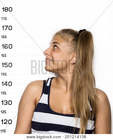 Young beautiful blonde woman Criminal Mug Shots.