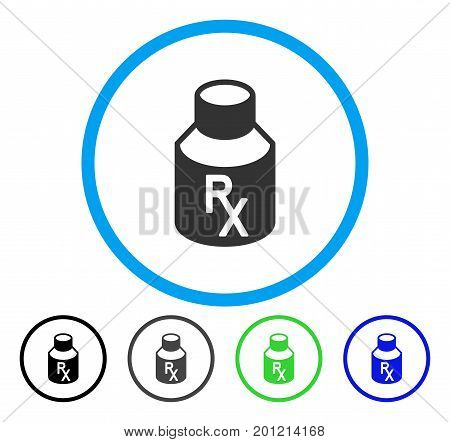 Receipt Vial rounded icon. Vector illustration style is a flat iconic symbol inside a circle, black, grey, blue, green versions. Designed for web and software interfaces.