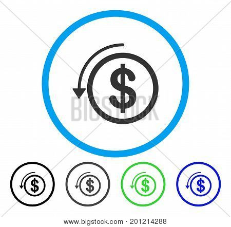 Refund rounded icon. Vector illustration style is a flat iconic symbol inside a circle, black, gray, blue, green versions. Designed for web and software interfaces.