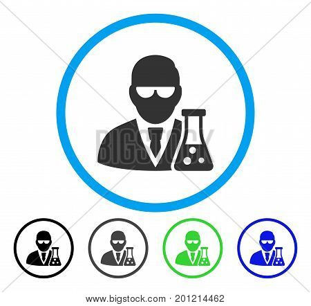 Scientist With Flask rounded icon. Vector illustration style is a flat iconic symbol inside a circle, black, gray, blue, green versions. Designed for web and software interfaces.