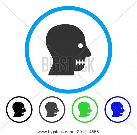 Sewn Mouth rounded icon. Vector illustration style is a flat iconic symbol inside a circle, black, grey, blue, green versions. Designed for web and software interfaces.