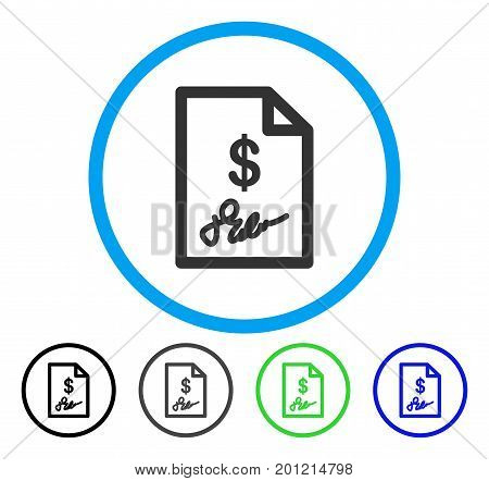 Signed Invoice rounded icon. Vector illustration style is a flat iconic symbol inside a circle, black, gray, blue, green versions. Designed for web and software interfaces.