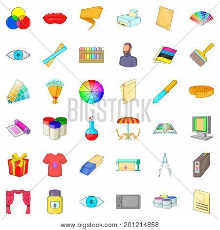 Designer icons set. Cartoon style of 36 designer vector icons for web isolated on white background