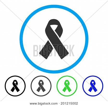 Solidarity Ribbon rounded icon. Vector illustration style is a flat iconic symbol inside a circle, black, gray, blue, green versions. Designed for web and software interfaces.