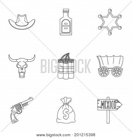 Wild west element icon set. Outline set of 9 wild west element vector icons for web isolated on white background