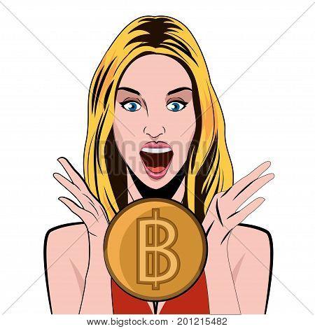 Bitcoin girl emotion of joy bitcoin. Conceptual vector illustration.