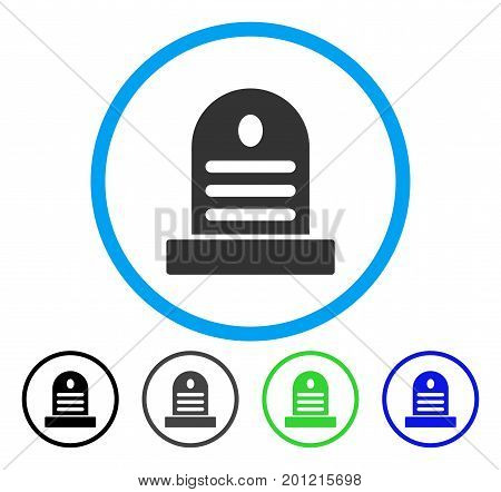 Tombstone rounded icon. Vector illustration style is a flat iconic symbol inside a circle, black, gray, blue, green versions. Designed for web and software interfaces.