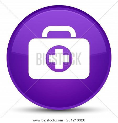 First Aid Kit Bag Icon Special Purple Round Button