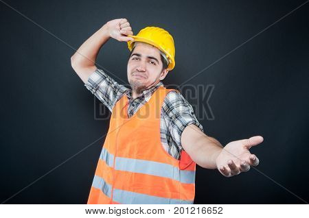 Constructor Wearing Equipment Throwing His Hard Hat