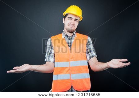 Constructor Wearing Equipment Making Confused Gesture