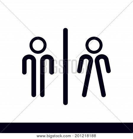 WC sign icon.  Male and Female toilet. Flat design.