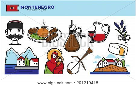 Montenegro travel destination vector illustration. National cuisine, man with mustache in hat, delicious drink in decanter, landscape with nature and houses, musical instrument and religious icon.