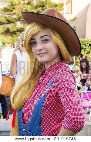SELARGIUS, ITALY - JUNE 29, 2014: The Cosplay Enchanted Garden, portrait of a beautiful girl in cosplay costume - Sardinia