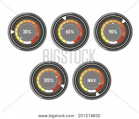Black round speedometer with percentage and colorful indicator of speed increase that changes from yellow to red together with speed index isolated flat vector illustrations on white background.