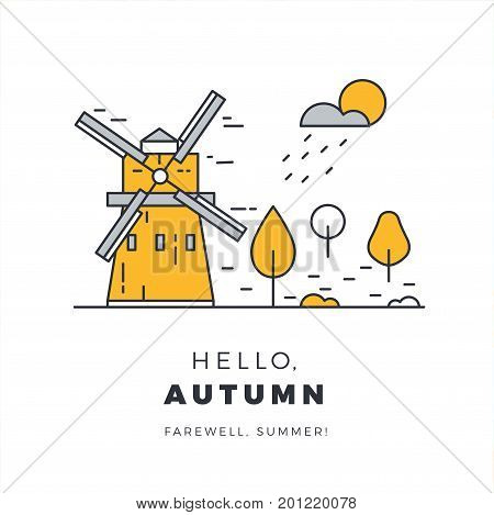 Hello Autumn Promotion Web Banner With Rural Landscape. Promo Fall Season Quote Layout With Windmill