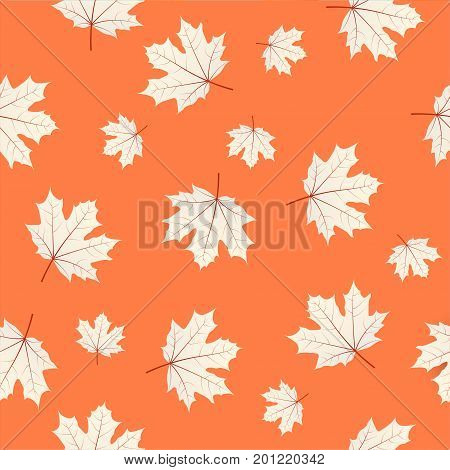 Seamless Pattern With Maple Leaves On Orange Background. Autumn Or Fall Season Repeating Print Layou